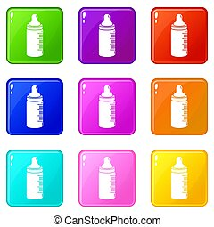 Baby bottle icons set 9 color collection