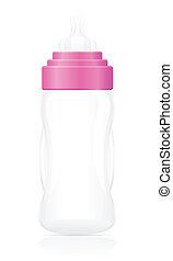 baby bottle pink vector illustration