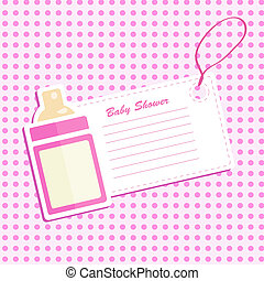 Baby bottle shower. Invitation card