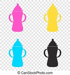 Baby bottle sign. CMYK icons on transparent background. Cyan, ma