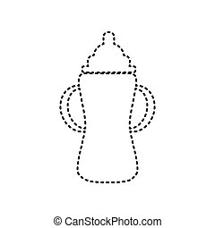 Baby bottle sign. Vector. Black dashed icon on white background. Isolated.