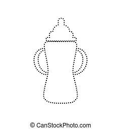 Baby bottle sign. Vector. Black dotted icon on white background. Isolated.