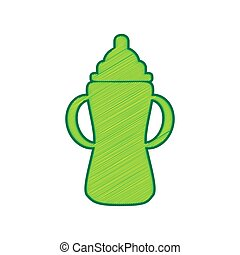 Baby bottle sign. Vector. Lemon scribble icon on white background. Isolated