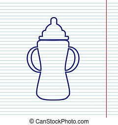 Baby bottle sign. Vector. Navy line icon on notebook paper as background with red line for field.