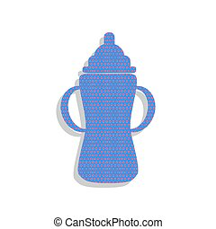Baby bottle sign. Vector. Neon blue icon with cyclamen polka dot