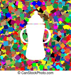 Baby bottle sign. Vector. White icon on colorful background with