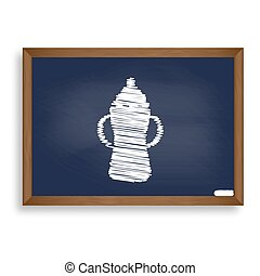 Baby bottle sign. White chalk icon on blue school board with...