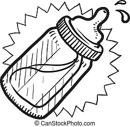 Doodle style baby bottle sketch with milk or formula in vector format.
