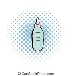 Baby bottle with milk comics icon