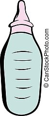 Baby bottle with milk icon cartoon