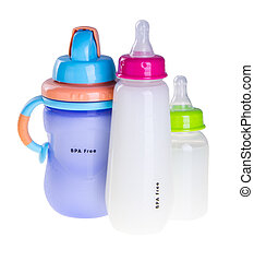 Baby bottle with milk on background