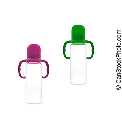 Baby bottles on a white background
