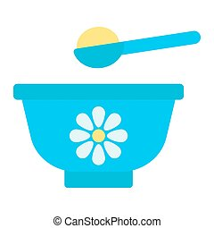 Baby bowl flat icon, baby food and nutrition