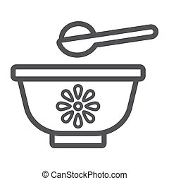 Baby bowl line icon, baby food and nutrition