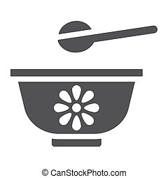 Baby bowl solid icon, baby food and nutrition