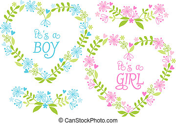 Baby boy and girl, floral heart set