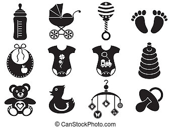 Set of twelve black and white baby boy and girl icons