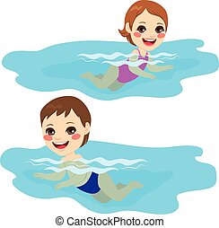 Baby Boy And Girl Swimming