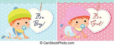 Baby boy and girl template