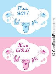 baby boy and girl, vector backgroun
