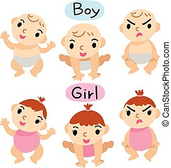 baby boy and girl vector design