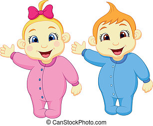 Baby boy and girl waving hand