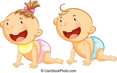 Baby boy and girl with big smile