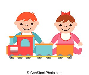baby boy and girl with train toy