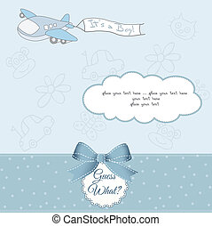 baby boy announcement card with airplane