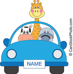 Animals in a car - Baby boy arrival announcement. Animals in...