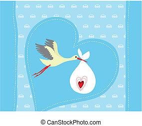 Baby boy arrival announcement card. Vector illustration.
