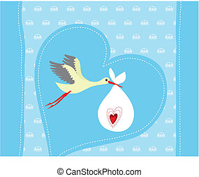 Baby boy arrival announcement card. Vector illustration.