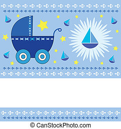 Baby boy arrival card - Baby boy arrival greeting card with...
