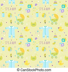 Baby Boy Background - Seamless Pattern for Design or Scrapbook - in vector