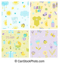 Baby Boy Background Set - Seamless Patterns - in vector