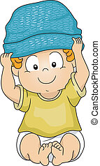 Baby Boy Beanie - Illustration of a Baby Boy Wearing a...