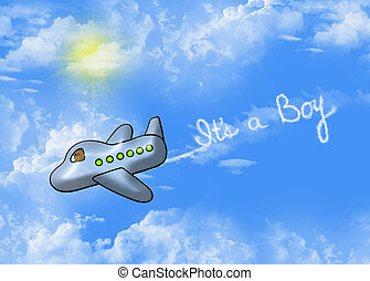 baby boy birth announcement - Teddy bear in an airplane with...