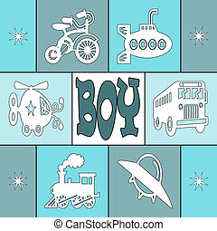 Baby boy card with square decoration