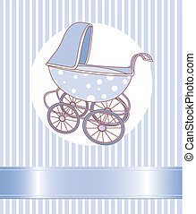 Baby Boy Carriage  - Baby boy Carriage announcement card