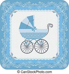Baby boy carriage - Congratulatory vintage postcard for baby...