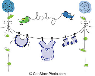 Baby Boy Clothes Line - Cute blue baby boy clothes line