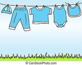 Baby boy clothes on clothesline - drawing