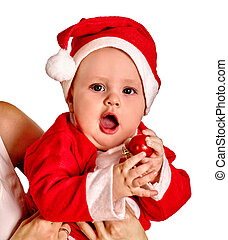 Baby boy clothing for Santa hats holding Christmas ball.