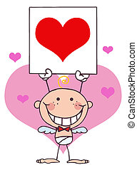Baby Boy Cupid Holding A Red Heart