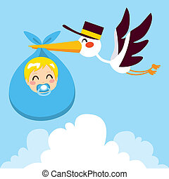Baby Boy Delivery Stork - Stork flying with cute baby boy...