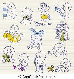 Baby Boy Doodle Set - for design, scrapbook, shower or arrival cards - in vector