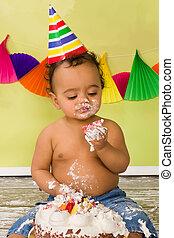 Baby boy during cake smash