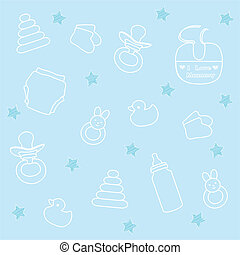 baby boy elements, blue background