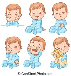 baby boy emotions set