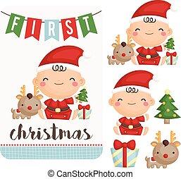 Baby Boy First Christmas Vector Set